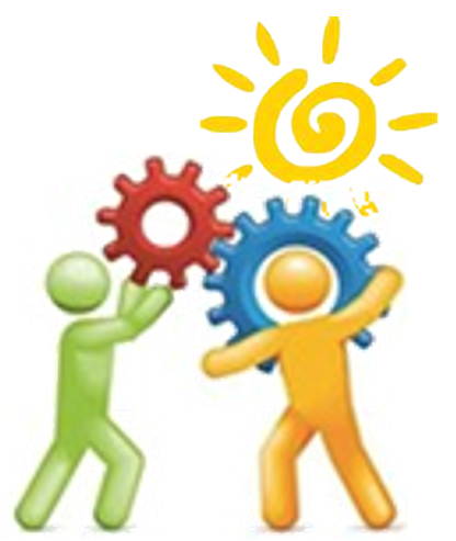 clipart of two figures holding two large gears meshing together, with the sun shining on them.,