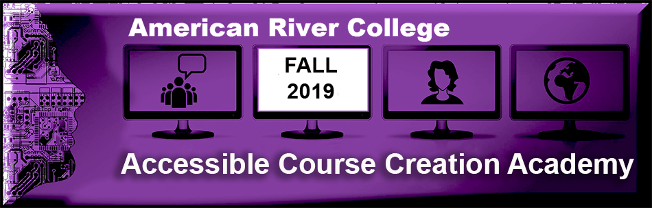 Accessible Course Creation Academy Fall 2019 header